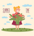 cute barefoot girl with flowers summer time vector image