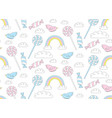 Cute candy pattern bird with rainbow vector image