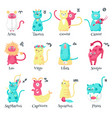 cute cat zodiac signs isolated vector image