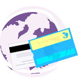debit card with globe vector image
