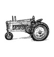 drawing of tractor stylized as engraving vector image vector image