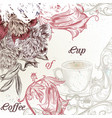 elegant coffee background with flowers vector image vector image