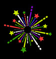exploding fireworks icon on black background vector image vector image