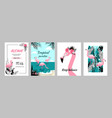 flamingo posters tropical banners and birthday vector image