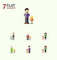 flat icon family set of daugther boys mother and vector image
