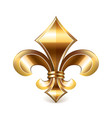 fleur de lis gold isolated on white vector image vector image