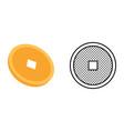 gold coin icon set yuan symbol vector image vector image