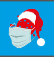 happy covid19 christmas coronavirus wearing a vector image