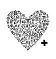 Heart shape with medical icons vector image vector image