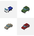 isometric transport set of armored auto lorry vector image vector image