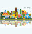 kinshasa skyline with color buildings blue sky vector image vector image