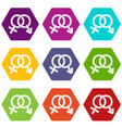 male and female signs icon set color hexahedron vector image vector image