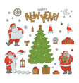 new year set santa claus holiday symbols vector image
