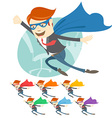 Office superman flying in front of his wo vector image