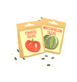 packs of tomato and watermelon seeds cartoon vector image vector image