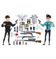 police elements collection vector image vector image