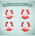 red horseshoe icon set vector image