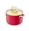 red saucepan with lid kitchen vector image