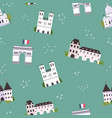 seamless pattern with famous landmarks vector image