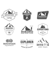 Set of monochrome outdoor adventure explorer camp vector image