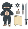 set of ninja vector image