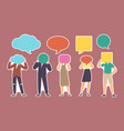 set stickers characters with speech bubbles vector image
