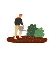 smiling male farmer watering seedbed flat vector image