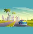summer travel car vector image vector image