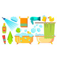 take a shower bath icons accessories vector image