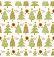 traditional christmas trees doodle vector image