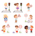 traffic road education school kids learning vector image vector image