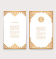 vintage cards with gold border ornament vector image vector image