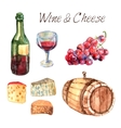 Wine and cheese watercolor pictograms set vector image
