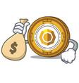 with money bag komodo coin character cartoon vector image vector image