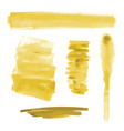 yellow gold watercolor shapes paint brush strokes vector image vector image