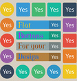 Yes sign icon Positive check symbol Set of twenty vector image vector image