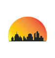 building silhoute sunsite logo vector image