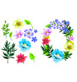 hand drawn sketch style flower set vector image