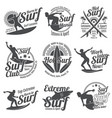 summer surfing sports logos collection with vector image