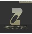 Letter Z Broken mirror vector image