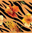 beautiful blooming flower on animal skin tiger vector image vector image