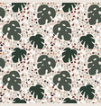 beautiful terrazzo seamless pattern with monstera vector image