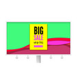 big sale billboard with discount action promo vector image vector image