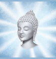buddha face with rays on blue background vector image