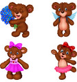 cartoon bear collection set vector image vector image