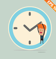 Cartoon Businessman hanging on the clock vector image