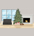 christmas decorated interior with tree vector image vector image