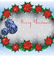 Christmas snowy background frame with fir vector image