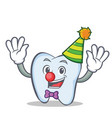 clown tooth character cartoon style vector image vector image