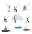 collection of fishermen catching fish with fishing vector image vector image